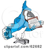 Royalty Free RF Clipart Illustration Of A Blue Jay Character School Mascot Reading by Toons4Biz