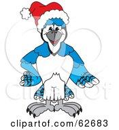 Blue Jay Character School Mascot Wearing A Santa Hat