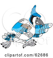 Royalty Free RF Clipart Illustration Of A Blue Jay Character School Mascot Playing Football