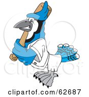 Royalty Free RF Clipart Illustration Of A Blue Jay Character School Mascot Batting by Toons4Biz