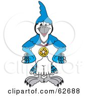 Blue Jay Character School Mascot Wearing A Medal