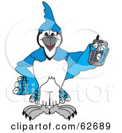 Blue Jay Character School Mascot Holding A Cell Phone