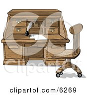Wooden Roll Top Desk With Papers And Ink