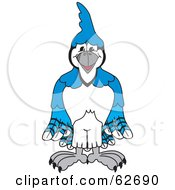 Royalty Free RF Clipart Illustration Of A Blue Jay Character School Mascot by Toons4Biz