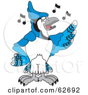 Royalty Free RF Clipart Illustration Of A Blue Jay Character School Mascot Singing
