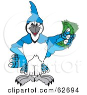 Royalty Free RF Clipart Illustration Of A Blue Jay Character School Mascot Holding Cash by Toons4Biz