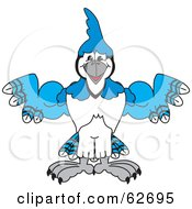 Royalty Free RF Clipart Illustration Of A Blue Jay Character School Mascot Flexing by Toons4Biz