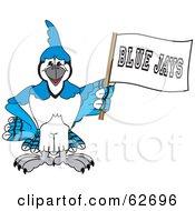 Blue Jay Character School Mascot Waving A Banner