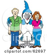 Royalty Free RF Clipart Illustration Of A Blue Jay Character School Mascot With Teachers Or Parents by Toons4Biz