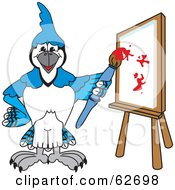 Royalty Free RF Clipart Illustration Of A Blue Jay Character School Mascot Painting A Canvas by Toons4Biz