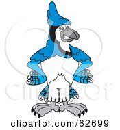 Royalty Free RF Clipart Illustration Of A Blue Jay Character School Mascot With His Hands On His Hips