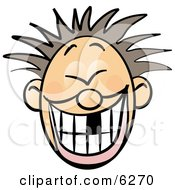 Smiley Faced Boy With Spiky Hair And Missing Tooth Clipart Illustration