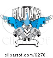 Royalty Free RF Clipart Illustration Of A Blue Jays Character School Mascot Logo by Toons4Biz