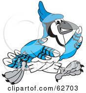 Royalty Free RF Clipart Illustration Of A Blue Jay Character School Mascot Running