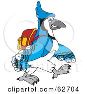 Royalty Free RF Clipart Illustration Of A Blue Jay Character School Mascot Walking To School