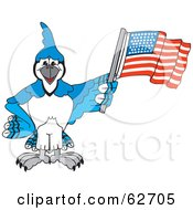 Royalty Free RF Clipart Illustration Of A Blue Jay Character School Mascot Waving An American Flag by Toons4Biz