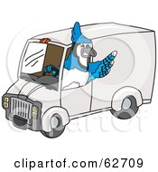 Blue Jay Character School Mascot Driving A Delivery Van