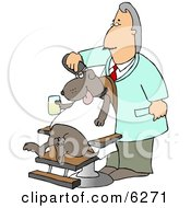 Male Dog Groomer Grooming A Dog With A Razor While He Sits In A Chair Holding A Drink Clipart Picture