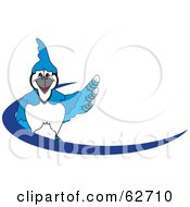 Royalty Free RF Clipart Illustration Of A Blue Jay Character School Mascot Blue Dash Logo by Toons4Biz