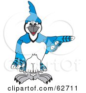 Royalty Free RF Clipart Illustration Of A Blue Jay Character School Mascot Pointing Right by Toons4Biz