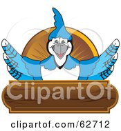 Royalty Free RF Clipart Illustration Of A Blue Jay Character School Mascot Wood Plaque Logo by Toons4Biz