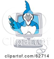 Royalty Free RF Clipart Illustration Of A Blue Jay Character School Mascot In A Computer