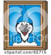 Royalty Free RF Clipart Illustration Of A Blue Jay Character School Mascot Portrait by Toons4Biz