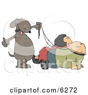 Happy Dog Walking His Owners On Leashes Clipart Picture