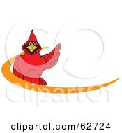 Royalty Free RF Clipart Illustration Of A Red Cardinal Character School Mascot Orange Dash Logo