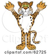 Royalty Free RF Clipart Illustration Of A Cheetah Jaguar Or Leopard Character School Mascot by Toons4Biz