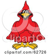 Royalty Free RF Clipart Illustration Of A Red Cardinal Character School Mascot