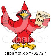 Red Cardinal Character School Mascot Holding A Report Card