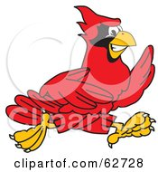 Royalty Free RF Clipart Illustration Of A Red Cardinal Character School Mascot Running