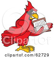 Royalty Free RF Clipart Illustration Of A Red Cardinal Character School Mascot Reading