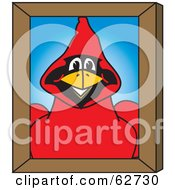 Royalty Free RF Clipart Illustration Of A Red Cardinal Character School Mascot Portrait