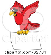 Royalty Free RF Clipart Illustration Of A Red Cardinal Character School Mascot Flying A Blank Sign