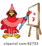 Royalty Free RF Clipart Illustration Of A Red Cardinal Character School Mascot Painting A Canvas