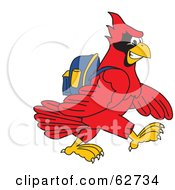 Royalty Free RF Clipart Illustration Of A Red Cardinal Character School Mascot Walking To School