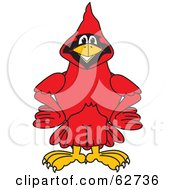 Royalty Free RF Clipart Illustration Of A Red Cardinal Character School Mascot With His Hands On His Hips