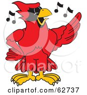 Royalty Free RF Clipart Illustration Of A Red Cardinal Character School Mascot Singing