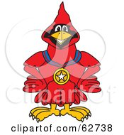 Royalty Free RF Clipart Illustration Of A Red Cardinal Character School Mascot Wearing A Medal