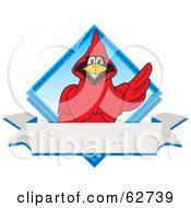 Royalty Free RF Clipart Illustration Of A Red Cardinal Character School Mascot Blue Diamond Banner Logo