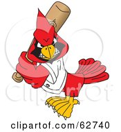 Royalty Free RF Clipart Illustration Of A Red Cardinal Character School Mascot Playing Baseball