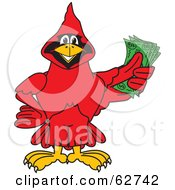 Royalty Free RF Clipart Illustration Of A Red Cardinal Character School Mascot Holding Cash