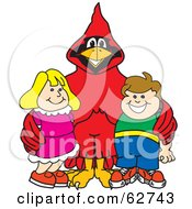 Royalty Free RF Clipart Illustration Of A Red Cardinal Character School Mascot With Students
