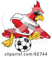 Royalty Free RF Clipart Illustration Of A Red Cardinal Character School Mascot Kicking A Soccer Ball
