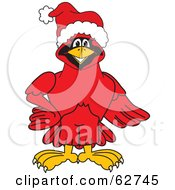 Royalty Free RF Clipart Illustration Of A Red Cardinal Character School Mascot Wearing A Santa Hat
