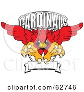 Royalty Free RF Clipart Illustration Of A Red Cardinals Character School Mascot Logo by Toons4Biz #COLLC62746-0015