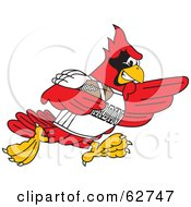 Royalty Free RF Clipart Illustration Of A Red Cardinal Character School Mascot Playing Football