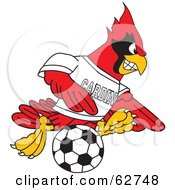 Royalty Free RF Clipart Illustration Of A Red Cardinal Character School Mascot Playing Soccer by Toons4Biz